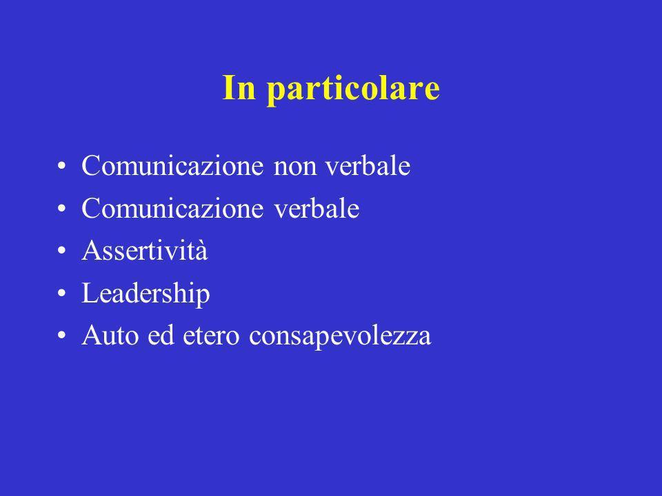 In particolare Comunicazione non verbale Comunicazione verbale