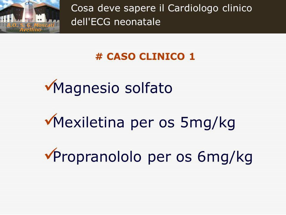 Mexiletina per os 5mg/kg Propranololo per os 6mg/kg