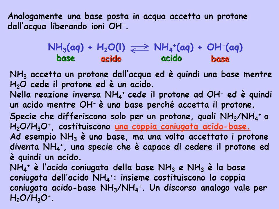 NH3(aq) + H2O(l) NH4+(aq) + OH-(aq)