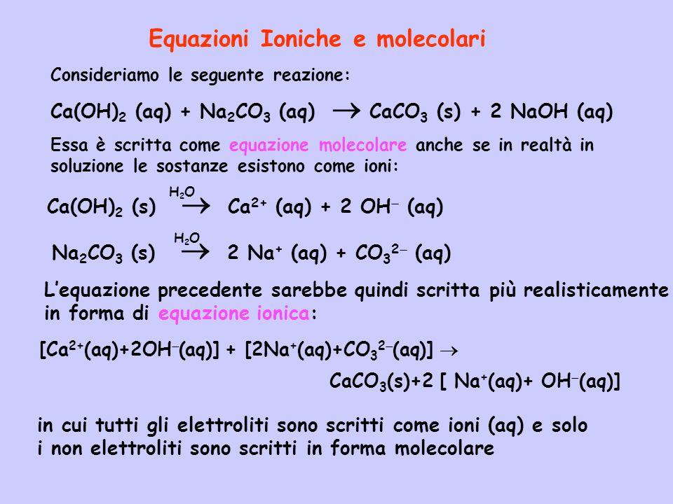 Equazioni Ioniche e molecolari
