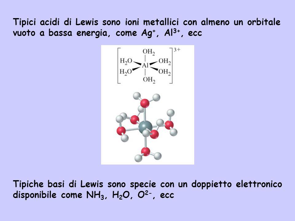 Tipici acidi di Lewis sono ioni metallici con almeno un orbitale vuoto a bassa energia, come Ag+, Al3+, ecc