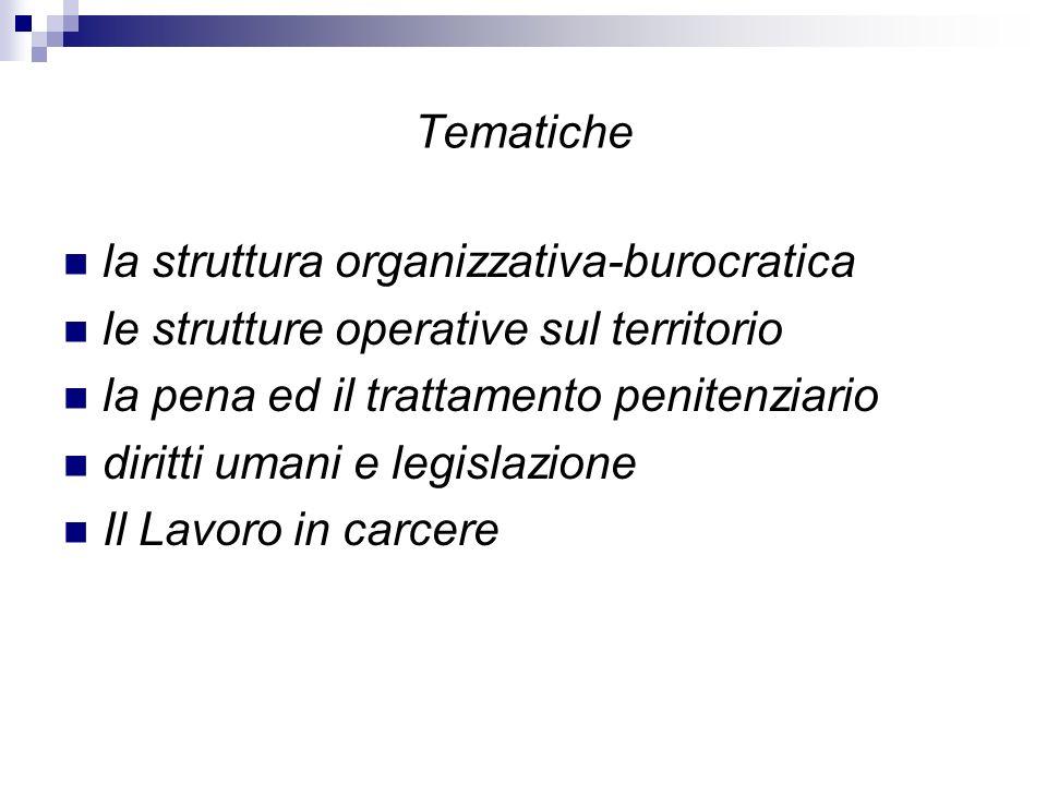 Tematiche la struttura organizzativa-burocratica. le strutture operative sul territorio. la pena ed il trattamento penitenziario.