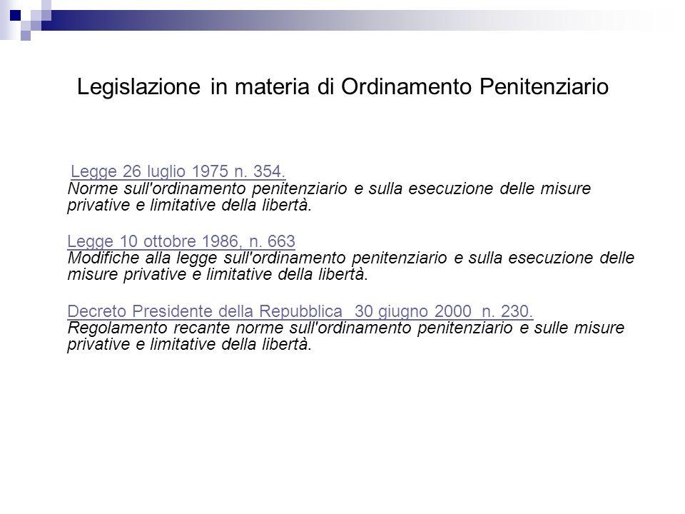 Legislazione in materia di Ordinamento Penitenziario