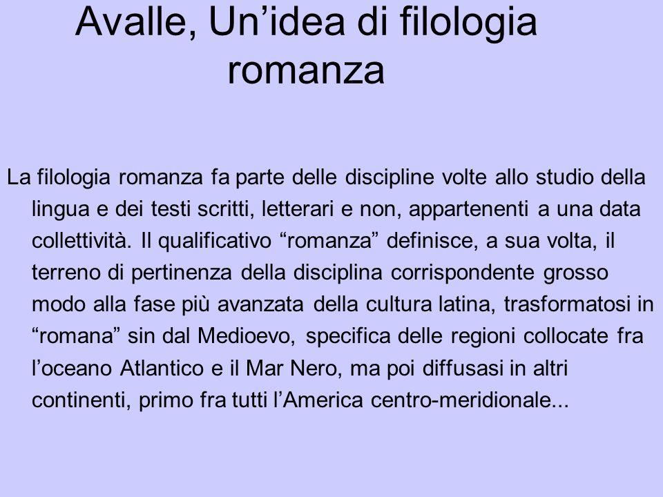 Avalle, Un'idea di filologia romanza