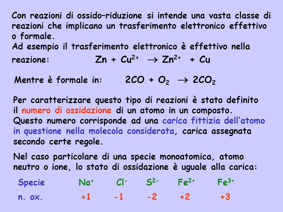 Con reazioni di ossido–riduzione si intende una vasta classe di reazioni che implicano un trasferimento elettronico effettivo o formale.