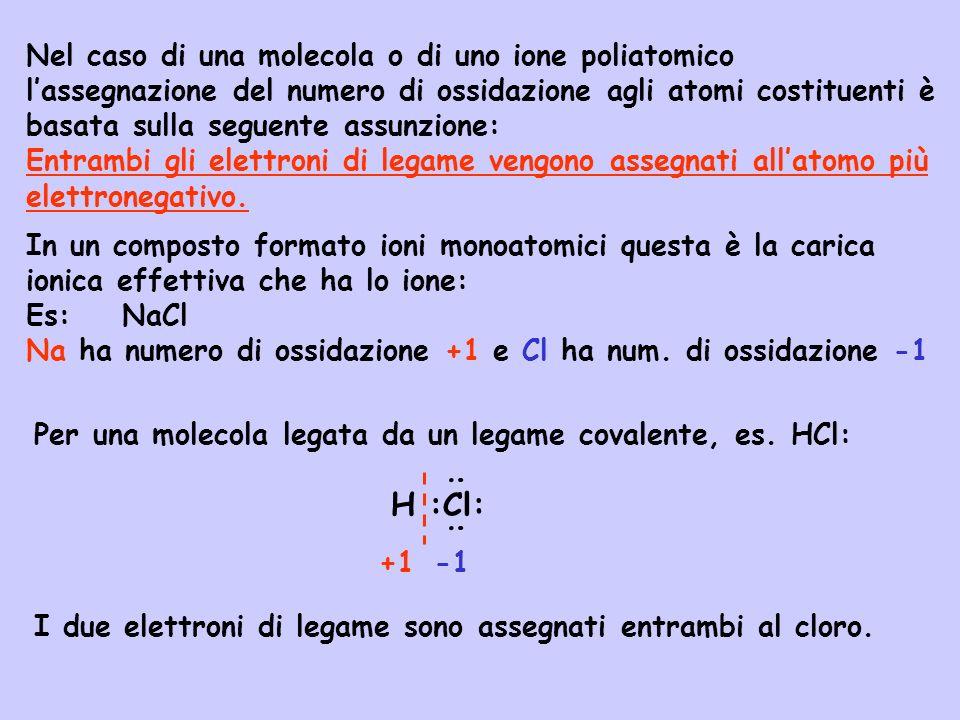 Nel caso di una molecola o di uno ione poliatomico l'assegnazione del numero di ossidazione agli atomi costituenti è basata sulla seguente assunzione: