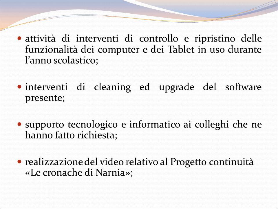 attività di interventi di controllo e ripristino delle funzionalità dei computer e dei Tablet in uso durante l'anno scolastico;