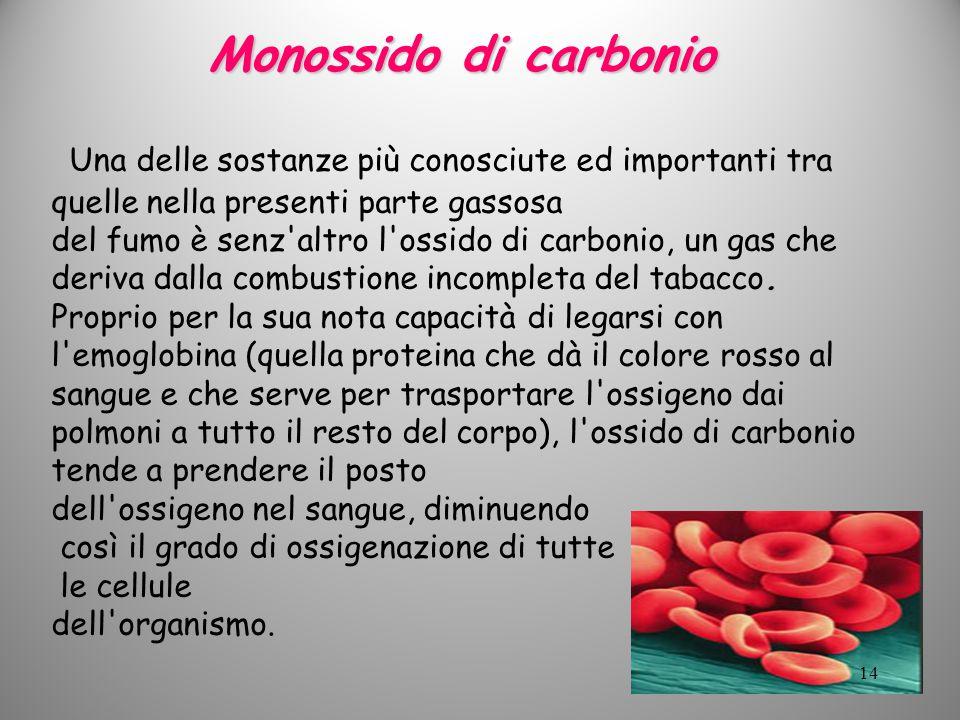 Monossido di carbonio Una delle sostanze più conosciute ed importanti tra quelle nella presenti parte gassosa.