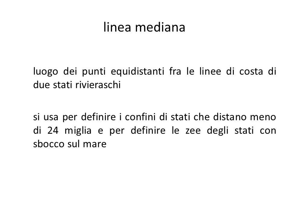 linea mediana luogo dei punti equidistanti fra le linee di costa di due stati rivieraschi.