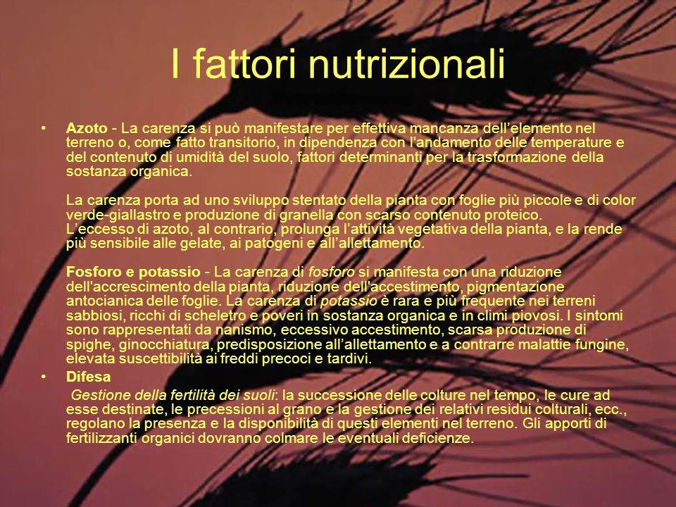 I fattori nutrizionali