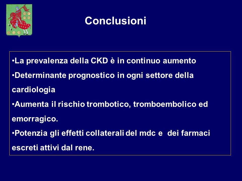 Conclusioni La prevalenza della CKD è in continuo aumento