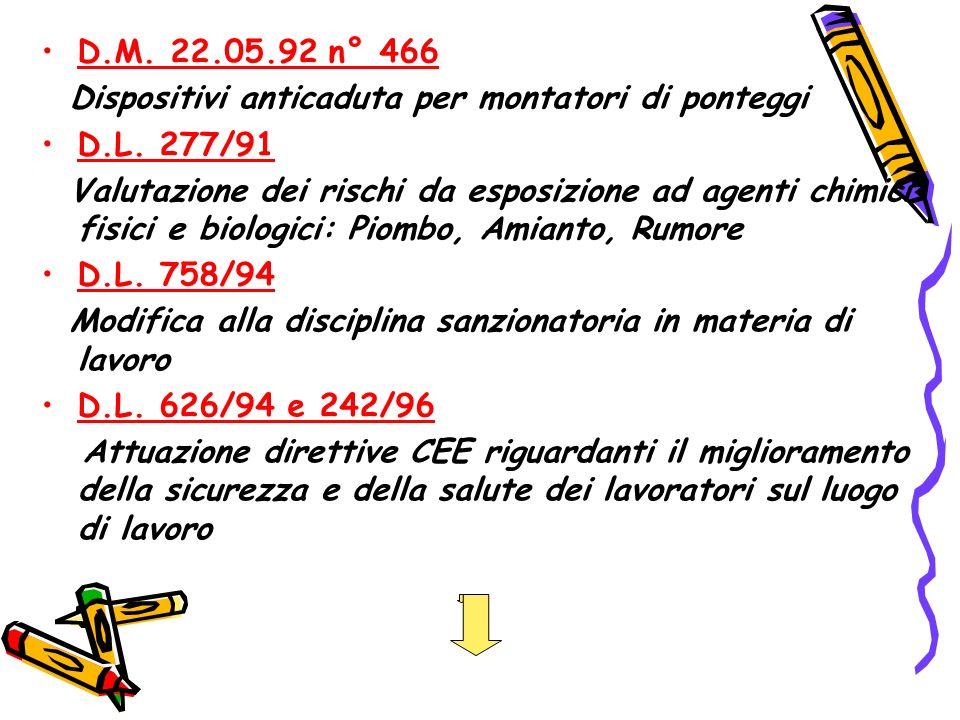 D.M. 22.05.92 n° 466 Dispositivi anticaduta per montatori di ponteggi. D.L. 277/91.
