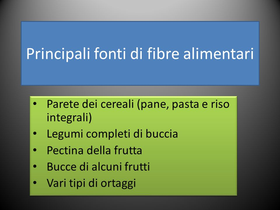 Principali fonti di fibre alimentari