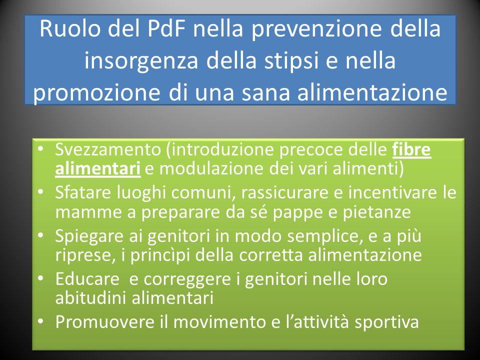 Ruolo del PdF nella prevenzione della insorgenza della stipsi e nella promozione di una sana alimentazione