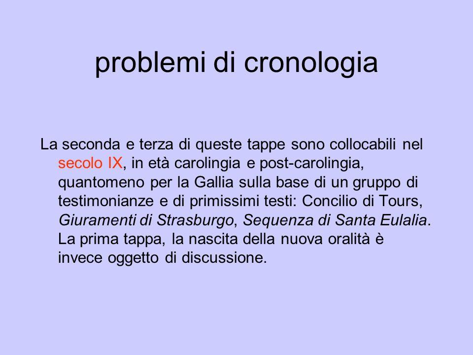 problemi di cronologia