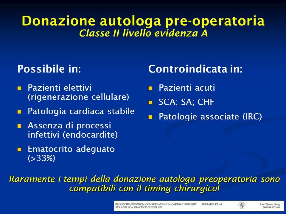 Donazione autologa pre-operatoria Classe II livello evidenza A