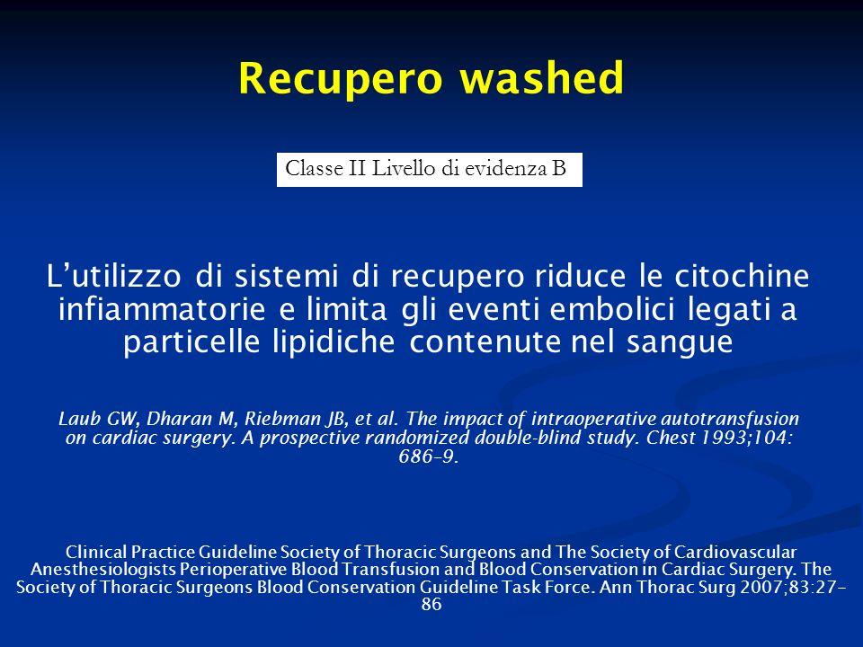 Recupero washed Classe II Livello di evidenza B.