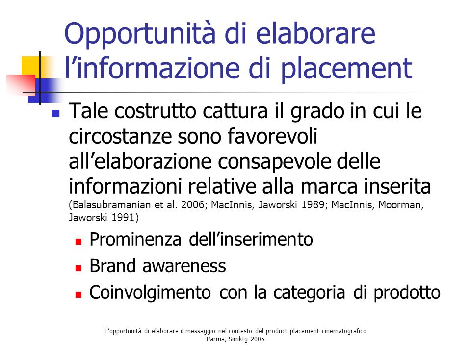 Opportunità di elaborare l'informazione di placement