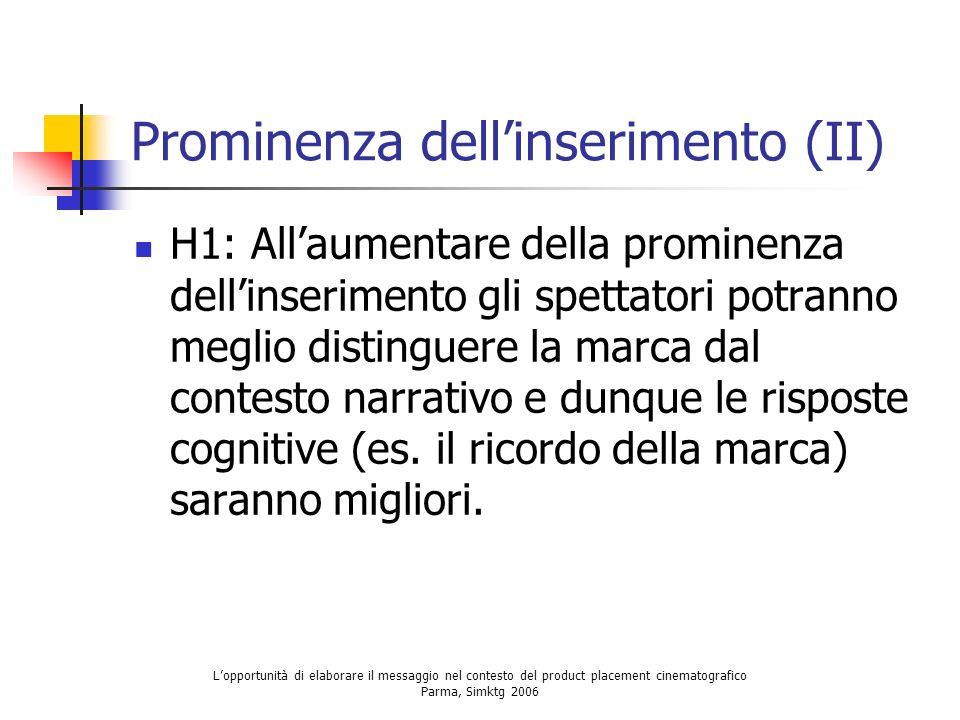 Prominenza dell'inserimento (II)