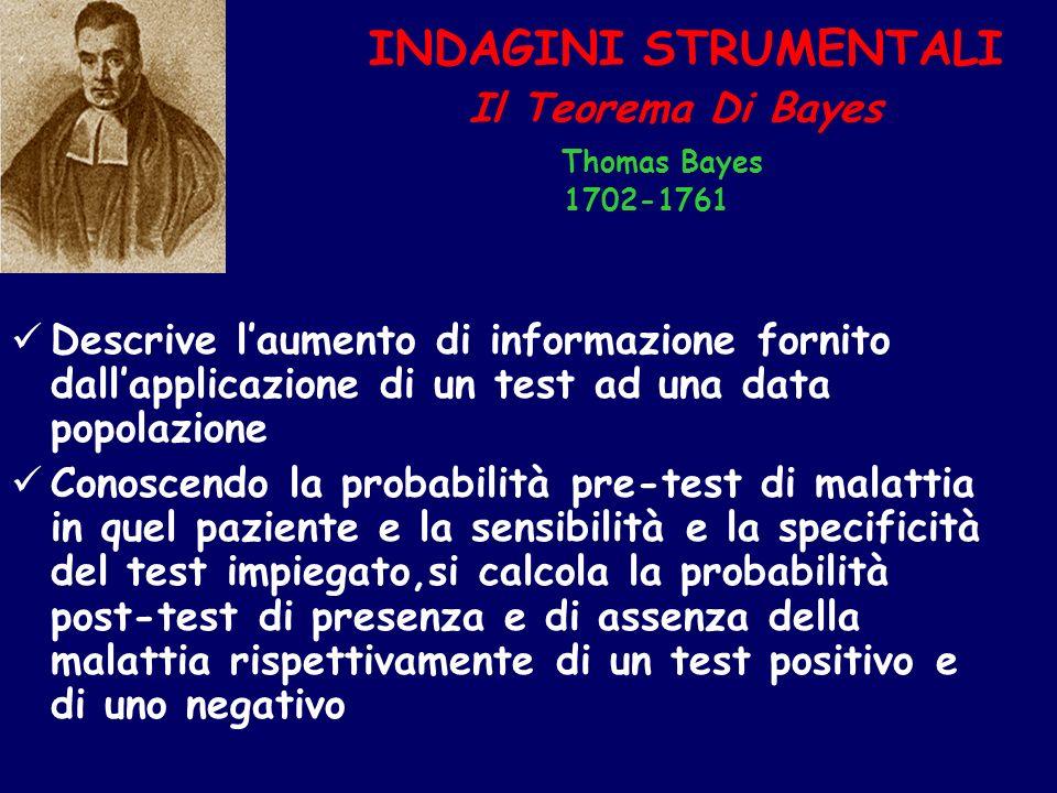 INDAGINI STRUMENTALI Il Teorema Di Bayes Thomas Bayes 1702-1761