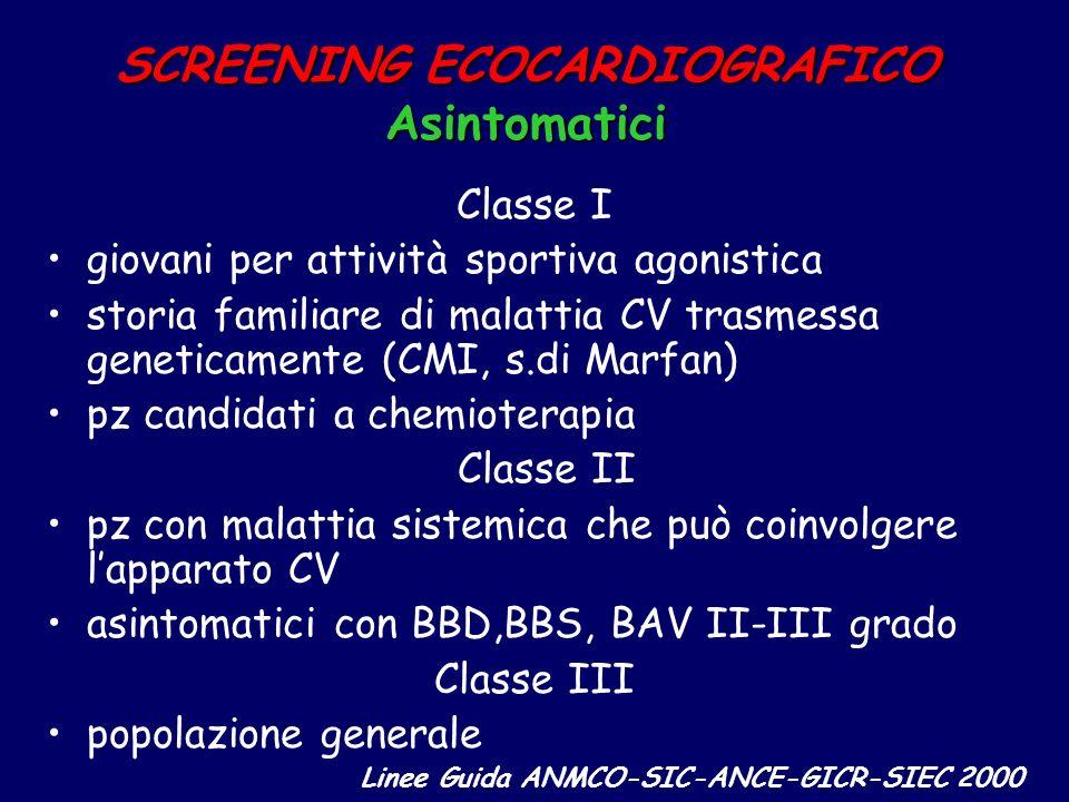SCREENING ECOCARDIOGRAFICO Asintomatici