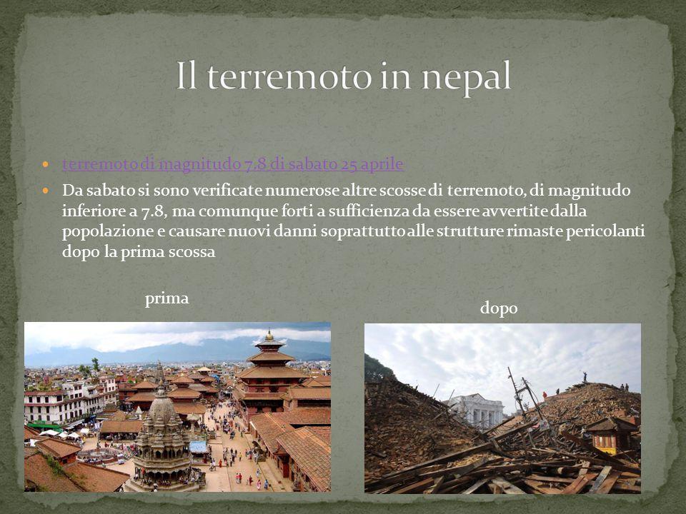 Il terremoto in nepal terremoto di magnitudo 7.8 di sabato 25 aprile