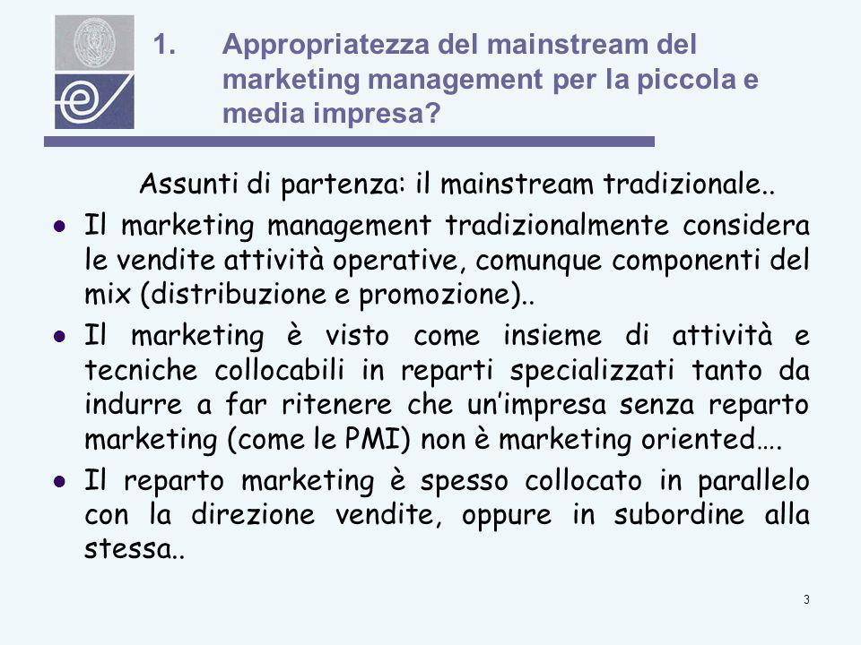 Appropriatezza del mainstream del marketing management per la piccola e media impresa