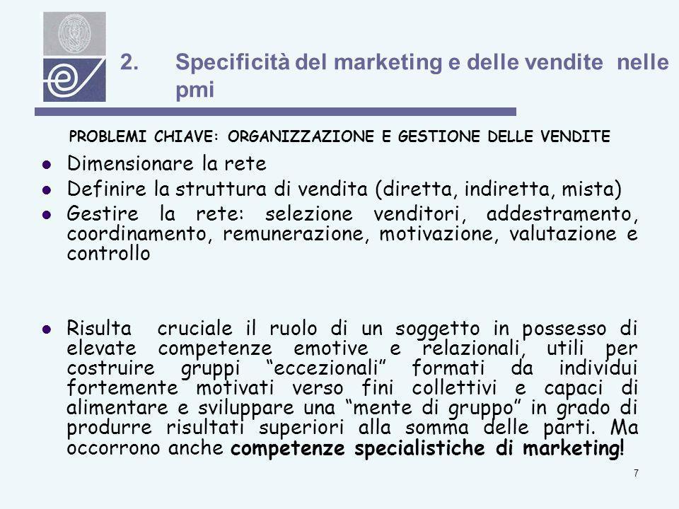 Specificità del marketing e delle vendite nelle pmi