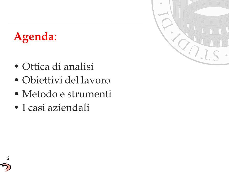 Agenda: Ottica di analisi Obiettivi del lavoro Metodo e strumenti