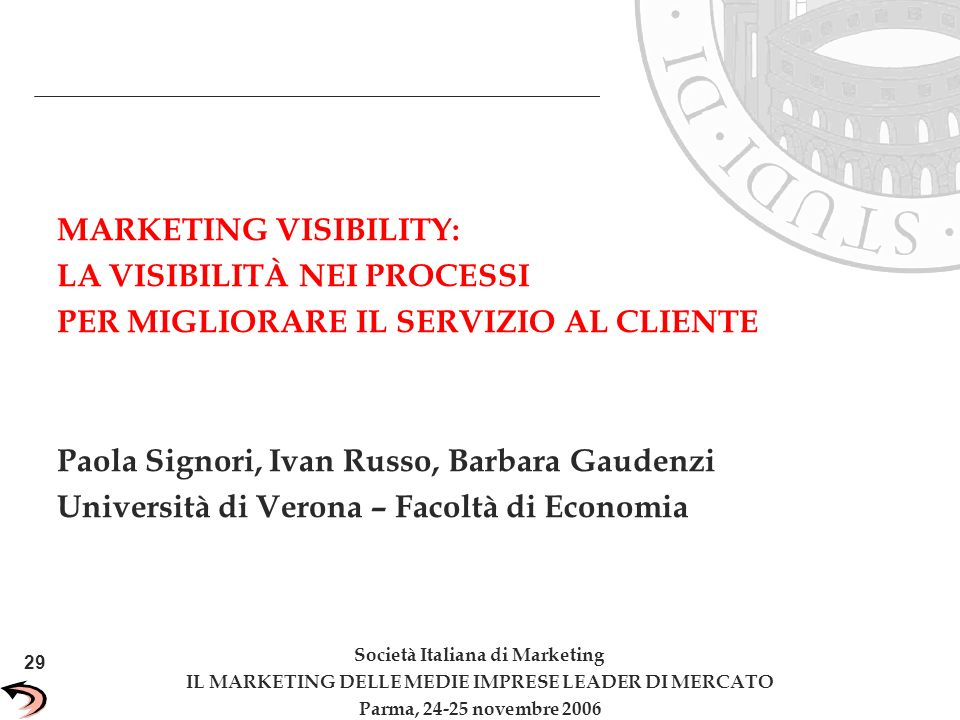 MARKETING VISIBILITY: LA VISIBILITÀ NEI PROCESSI