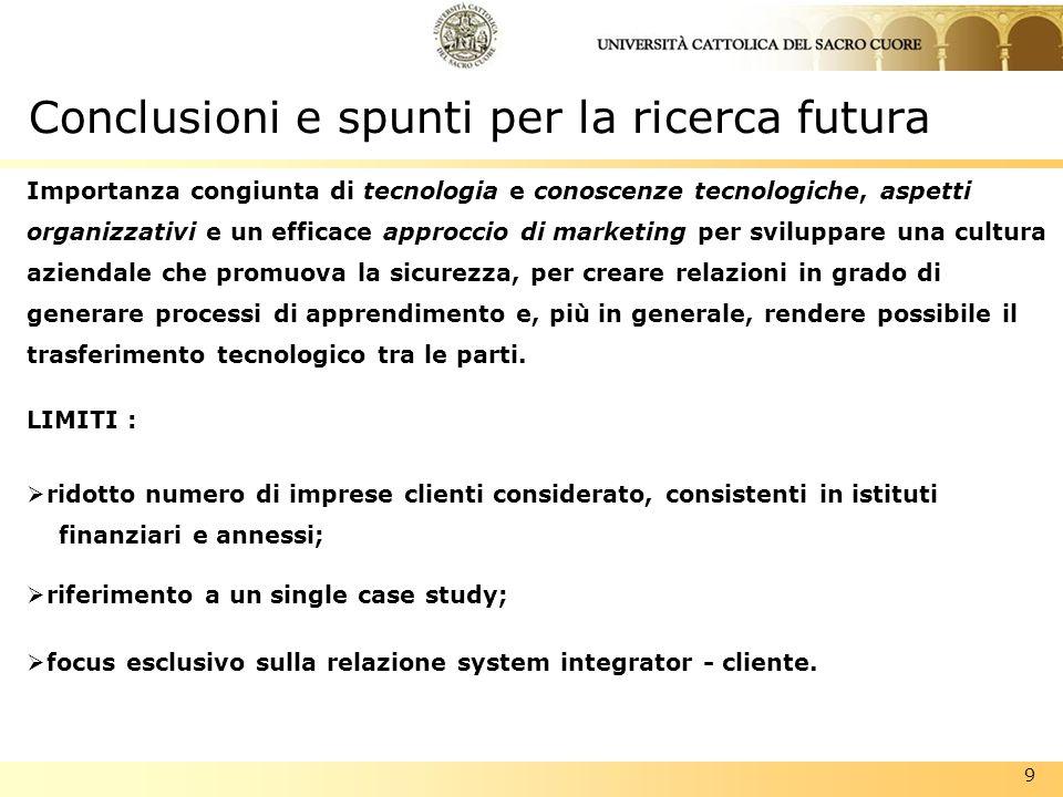 Conclusioni e spunti per la ricerca futura