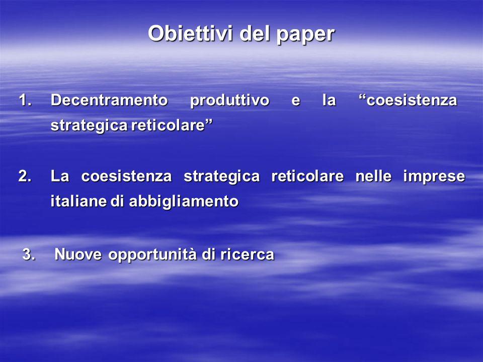 Obiettivi del paper Decentramento produttivo e la coesistenza strategica reticolare