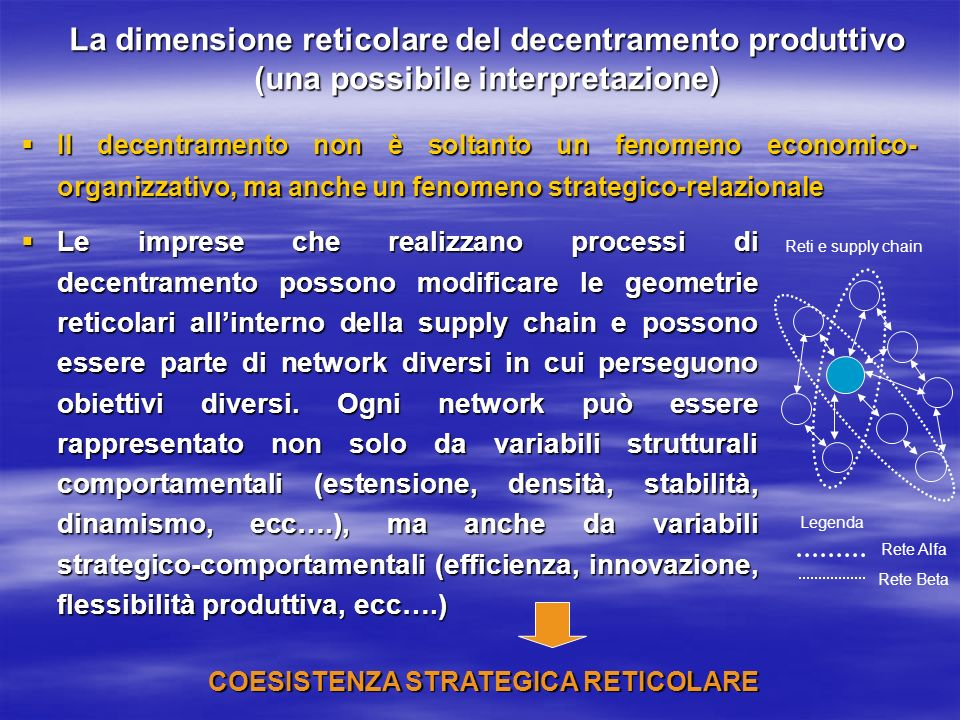 COESISTENZA STRATEGICA RETICOLARE