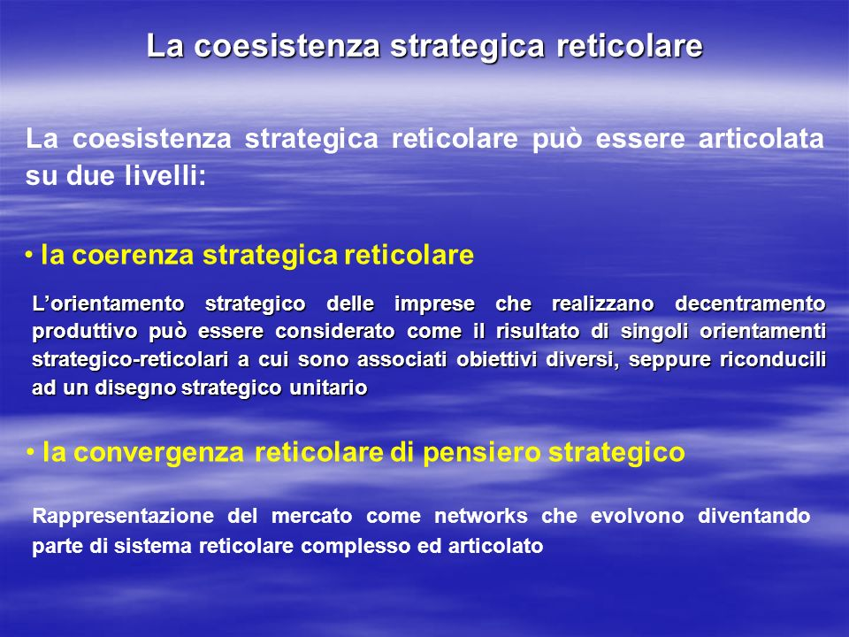La coesistenza strategica reticolare
