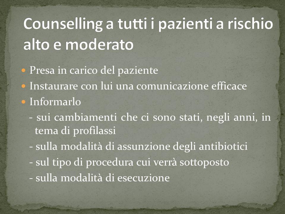 Counselling a tutti i pazienti a rischio alto e moderato
