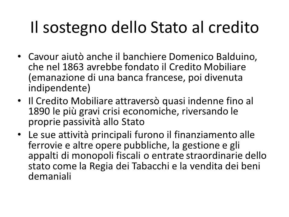 Il sostegno dello Stato al credito