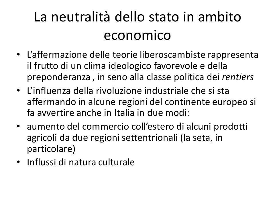 La neutralità dello stato in ambito economico