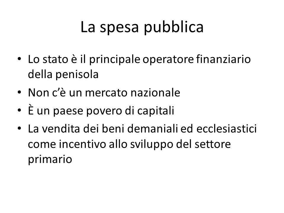 La spesa pubblica Lo stato è il principale operatore finanziario della penisola. Non c'è un mercato nazionale.
