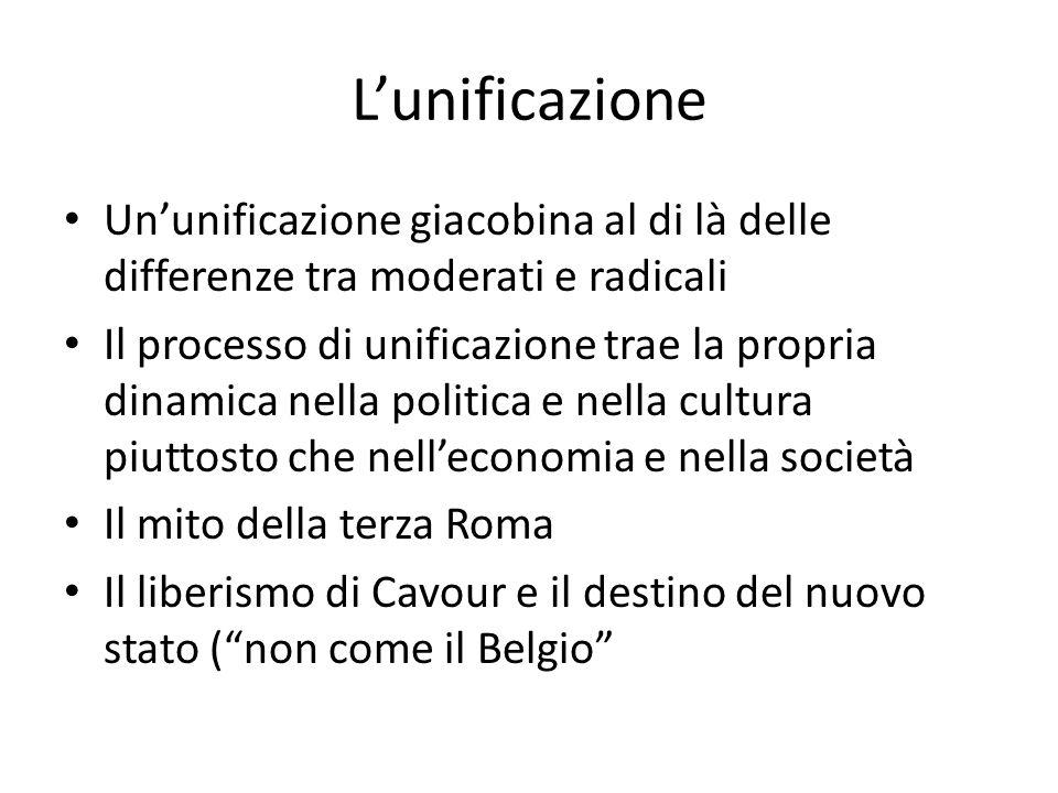 L'unificazione Un'unificazione giacobina al di là delle differenze tra moderati e radicali.