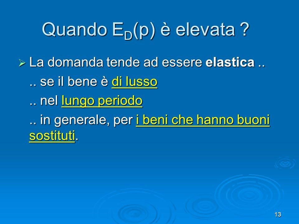 Quando ED(p) è elevata La domanda tende ad essere elastica ..