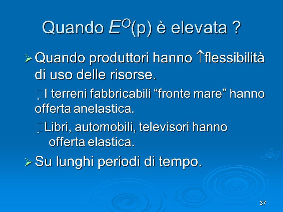 Quando EO(p) è elevata Quando produttori hanno flessibilità di uso delle risorse.