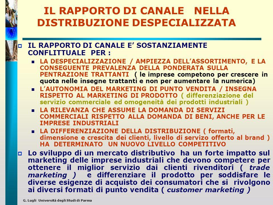 IL RAPPORTO DI CANALE NELLA DISTRIBUZIONE DESPECIALIZZATA