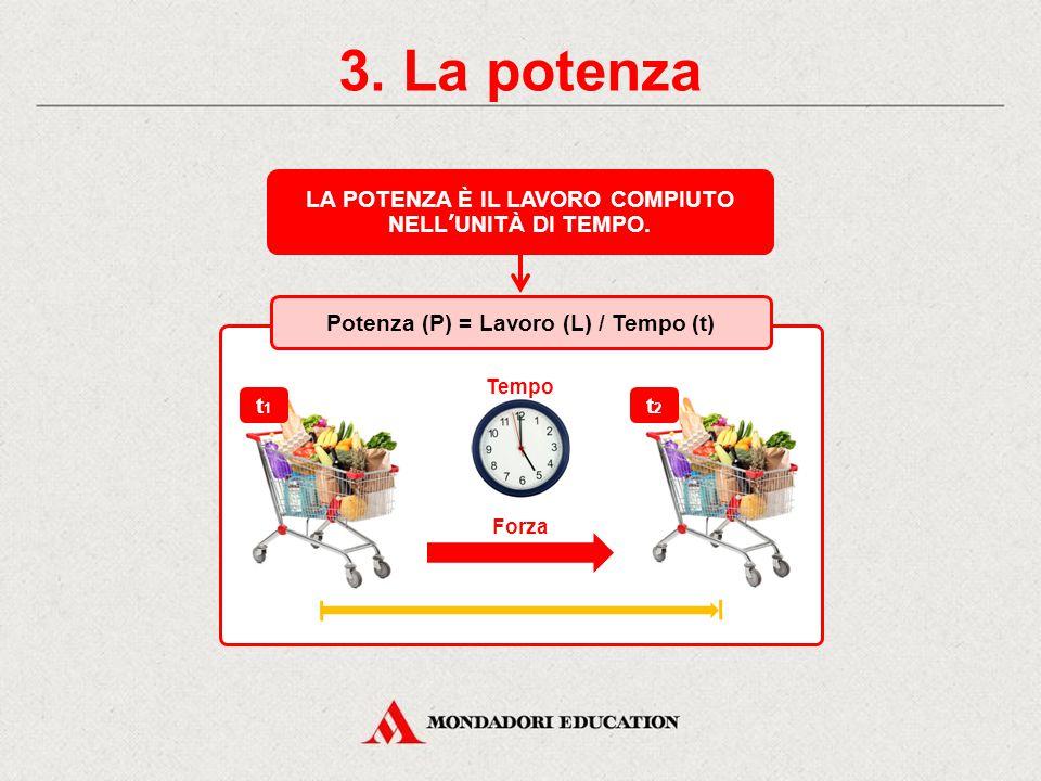 LA POTENZA È IL LAVORO COMPIUTO Potenza (P) = Lavoro (L) / Tempo (t)