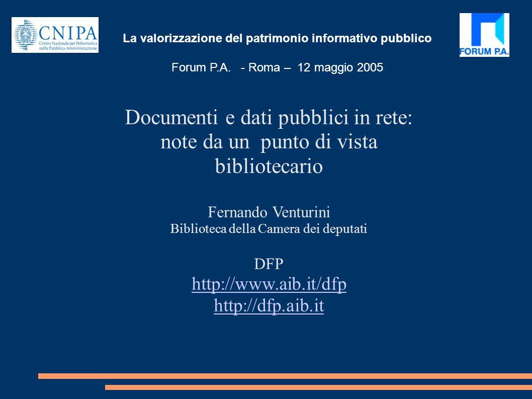 La valorizzazione del patrimonio informativo pubblico