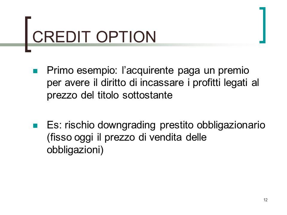 CREDIT OPTION Primo esempio: l'acquirente paga un premio per avere il diritto di incassare i profitti legati al prezzo del titolo sottostante.