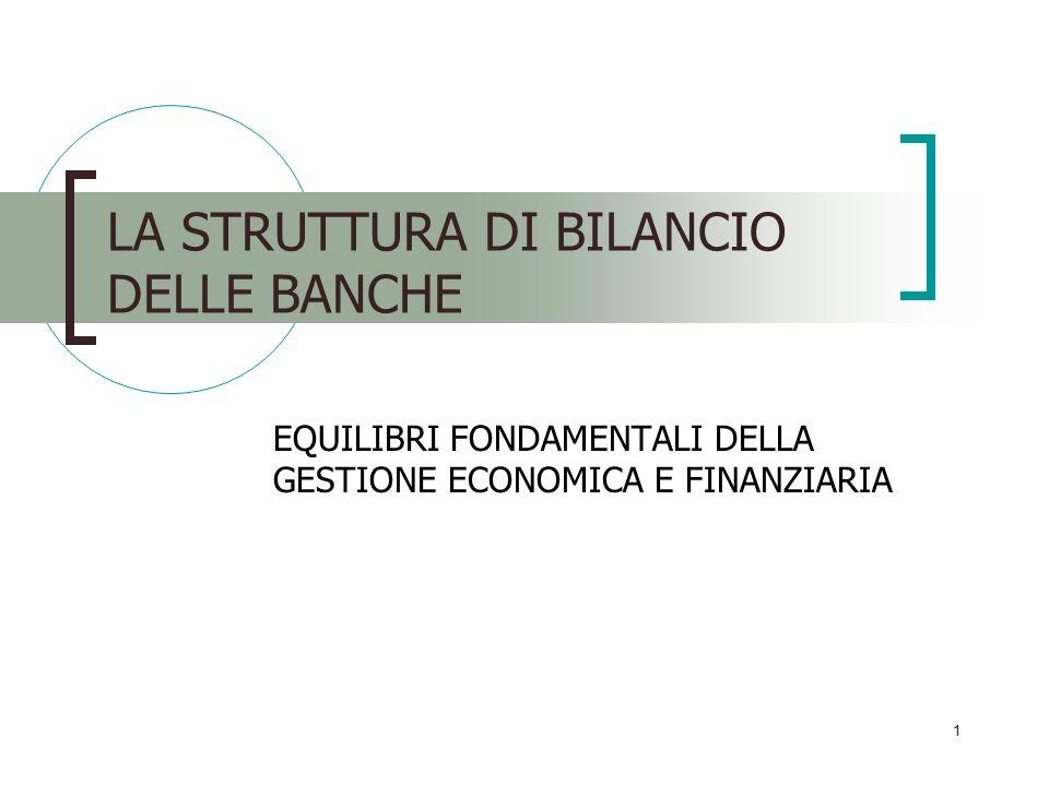 LA STRUTTURA DI BILANCIO DELLE BANCHE