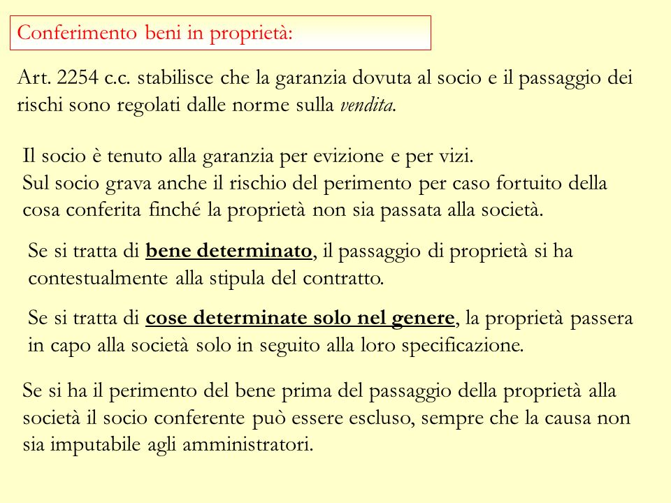 Conferimento beni in proprietà: