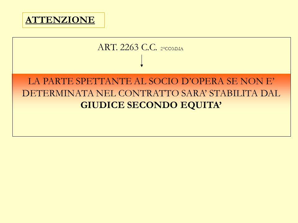 ATTENZIONE ART. 2263 C.C. 2°COMMA.