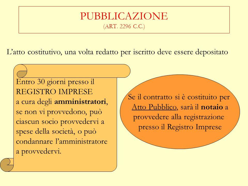 PUBBLICAZIONE (ART. 2296 C.C.)