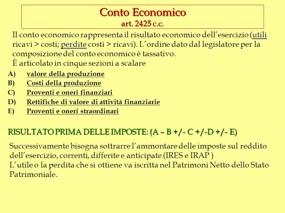 Conto Economico art. 2425 c.c.